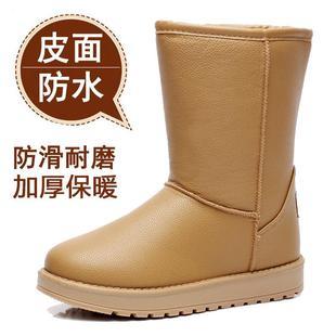 冬季防滑防水雪地靴女中筒保暖棉鞋厚底皮面短筒学生加绒加厚短靴