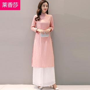 民国女装棉麻茶服改良旗袍连衣裙长袖汉服秋装中国风唐装套装复古