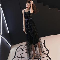 洋装小晚礼服女2018新款名媛派对黑色气质中长款性感吊带宴会礼服