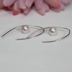 同心缘天然淡水珍珠耳饰耳环法式耳钩s925银简约韩版几何风