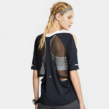 夏健身服女宽松跑步罩衫网纱速干运动短袖T恤露肩性感瑜伽服上衣