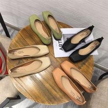 时尚 女粗跟软皮软底奶奶鞋 18春秋新款 简约方头浅口中低跟平底单鞋
