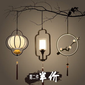 新中式小吊灯 单头铁艺餐厅玄关过道走廊床头楼梯饭厅中国风吊线吊线灯