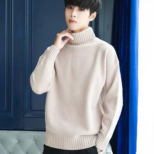 2019冬季高领毛衣男修身韩版套头针织衫纯色加绒加厚打底衫学生潮
