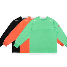 VENGETICE Fluorescent Green Fake Two T-shirts with Round Neck and Loose Guochao Ins Long Sleeve for Men and Women