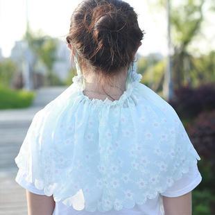 蕾丝棉麻口罩夏季薄款护颈披肩女透气夏骑车遮阳防晒