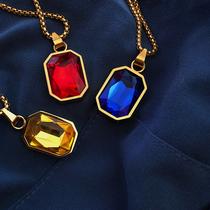 Gemstone Necklace 嘻哈潮流百搭街头镀金色红蓝宝石吊坠男女项链