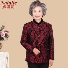 60-70岁奶奶装春秋款唐装衣服蕾丝薄外套老年人女妈妈喜庆婚礼服