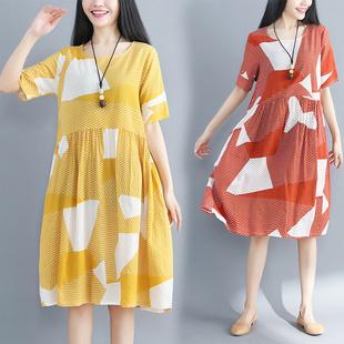 大码女装宽松印花短袖连衣裙夏装复古文艺清新显瘦气质棉麻中长裙