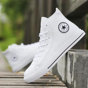 高帮帆布鞋秋季男鞋学生街舞鞋英伦皮鞋时尚短靴潮流白色休闲板鞋