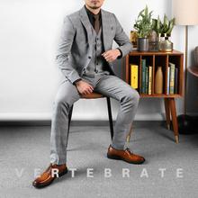 英伦三件套西服 西装 韩版 职业装 脊椎动物男装 商务绅士浅灰格子套装