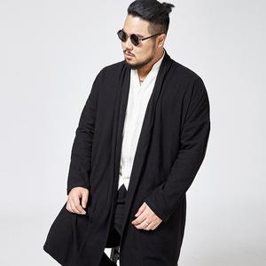 大码男装中国风长款风衣 中式胖子宽松棉麻开衫外套 加肥加大汉服风衣