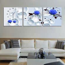 特价 创意家居现代客厅装 包邮 饰表壁画挂画艺术无框画挂钟静音