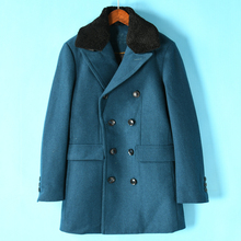 Men's U Series New Winter Clothes Korean Classic Double-breasted Wool-collar Wool Overcoat 824