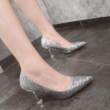 新娘婚鞋女2019新款婚纱鞋细跟银色网红高跟鞋尖头亮片单鞋水晶鞋