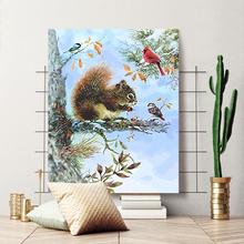 松鼠猫咪狗狗花卉油画 diy数字油画手工填色涂鸦家居酒店装 饰画