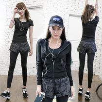 女上衣外套速干宽松专业健身房运动跑步服大码 秋冬瑜伽服套装 迷彩