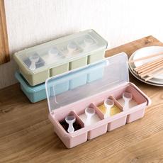 居家家 素雅色调味盒塑料调味罐套装 厨房味精盐罐调料罐调味料盒