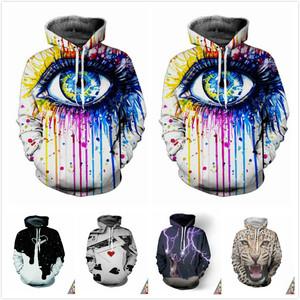 日系原宿风潮男女创意彩色涂鸦大眼睛3D扎染长袖T恤青年连帽卫衣3D连帽卫衣