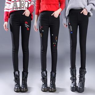 秋冬黑色刺绣 加绒加厚打底长裤外穿大码可爱卡通图案女裤潮款