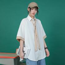 @绿光 带领带短袖衬衫女2019夏装新款韩版学生宽松百搭情侣装衬衣