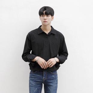 春季韩版新款男士长袖亚麻衬衫青年休闲百搭上衣舒适透气棉麻寸衫