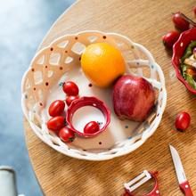 陶瓷水果盘缕空果篮 ezicok 现代创意家居客厅家用干果盘糖果盘子