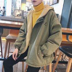 港风冬季新款男士棉衣韩版羊羔毛加绒加厚连帽棉服青少年潮流外套