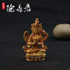 古玩仿古明清老佛铜鎏金四臂观音仿出土高古佛像随身佛小佛