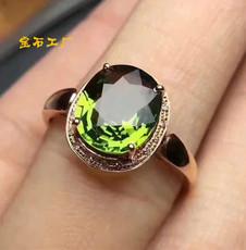 正品 天然橄榄石彩色宝石绿宝石碧玺色 精工925银镀金宝石戒指女