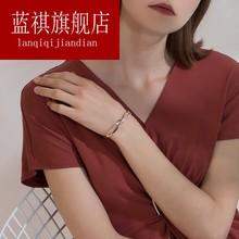交叉双环手镯钛钢镀18K玫瑰金百搭女款手环手链配饰