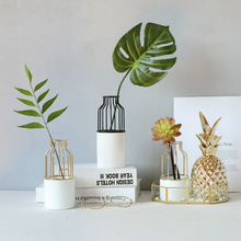 饰摆件绿植搭配软装 风吟ins北欧风金色铁艺陶瓷花瓶 家居装 花器