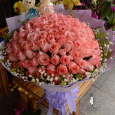 99朵香槟红玫瑰花束鲜花速递七夕情人节厦门漳州福州花店送花上门