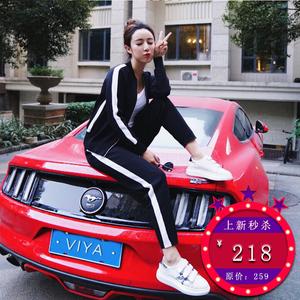 3.2薇娅viya定制白条纹黑色运动套装SS001500运动套装