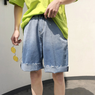 夏季渐变冰丝牛仔短裤男士宽松阔腿五分裤ins潮流薄款中裤潮牌5分