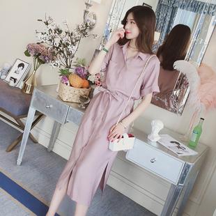 棉麻衬衣连衣裙女夏装2018新款中长裙收腰显瘦冷淡风短袖衬衫裙子