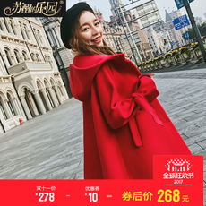 斗篷毛呢外套女装秋冬季英伦大红色韩版短款宽松矮小个子呢子大衣