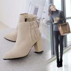 秋冬韩版女靴2017新款真皮圆头粗跟短靴牛皮流苏靴马丁靴高跟靴女