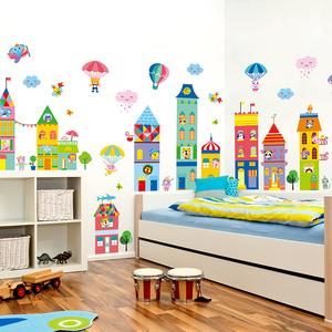 卡通幼儿园儿童房自粘壁纸墙贴纸贴画动物城堡创意 span class=h>气球