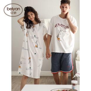 贝妍夏季纯棉情侣睡衣可爱卡通少女薄款睡裙时尚短袖男家居服套装