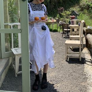 三個裁縫2019新款中長款黑白色褶皺日系純棉背帶裙ins顯瘦茶歇裙