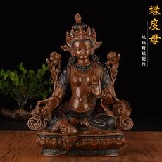 佛教用品 台湾纯铜精致雕花仿古密宗佛像7寸绿度母摆件高21.5cm