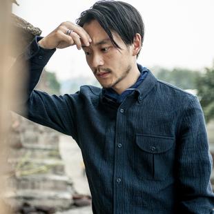 SOARIN英伦复古休闲亚麻长袖衬衫男 棉商务正装衬衣修身蓝色寸衫