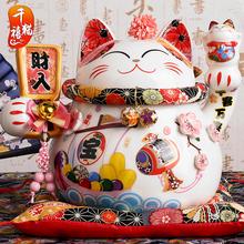 正版招财猫摆件大号发财猫店铺开业礼品陶瓷储蓄罐创意家居装 饰品