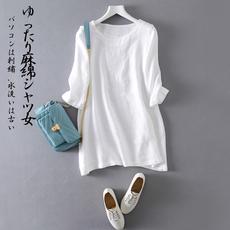 棉麻衬衫女2016夏装七分袖上衣亚麻中长款宽松刺绣绣花短袖套头衫