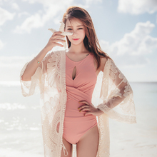 Bikini three-piece swimsuit women's conservative belly cover suit with lace blouse loose sunscreen outfit