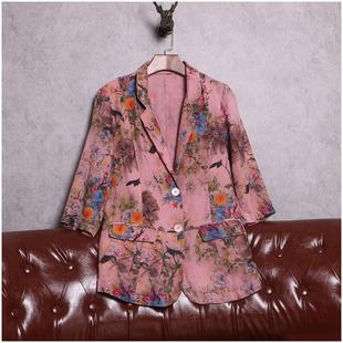 欧洲站春装女2019新款欧货时尚复古做旧印花显瘦棉麻小西装短外套