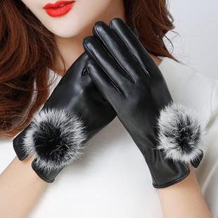 皮手套女冬季加绒秋冬季时尚加厚保暖兔毛薄款触摸屏手套学生