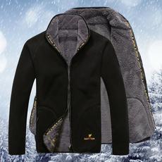 【天天特价】秋冬新款两面穿加厚加绒抓绒衣 男 户外开衫大码外套