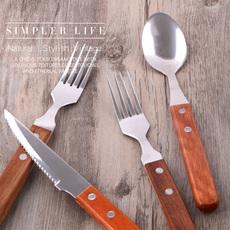 精致木柄牛排刀叉两件套装 不锈钢西餐刀叉勺三件套餐具环保材质
